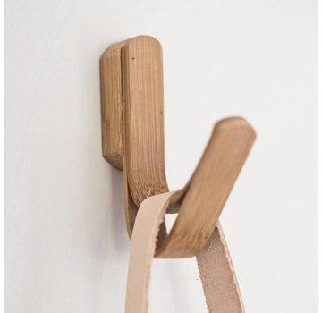 Hubsch Kapstokhaak enkel - bruin bamboe/hout - set van 2