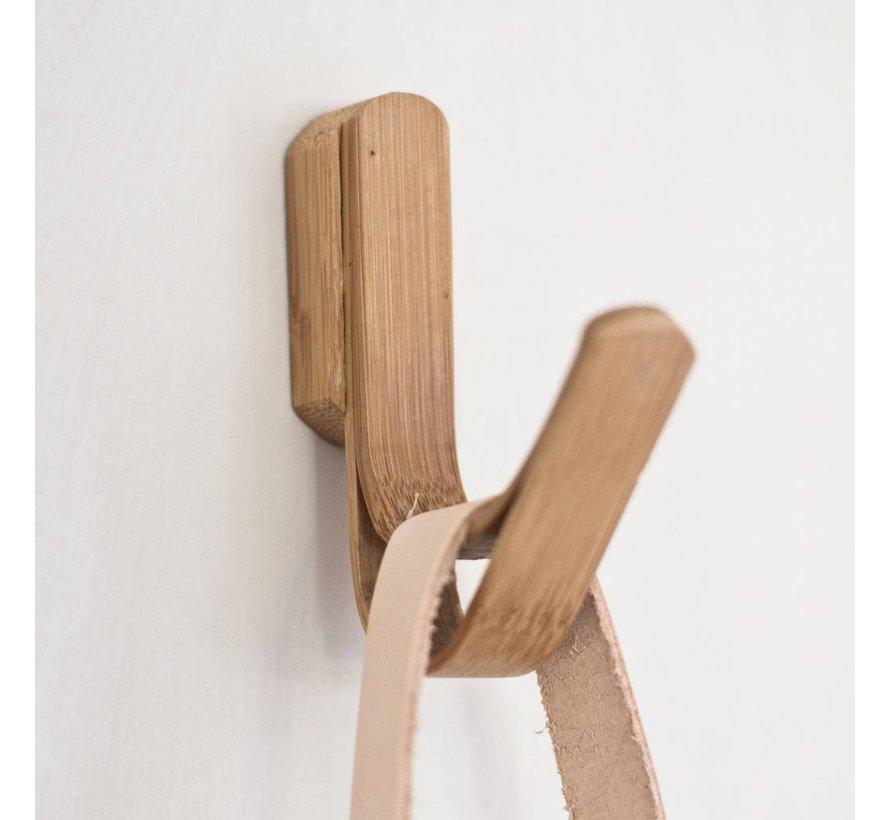 Kapstokhaak enkel - bruin bamboe/hout - set van 2