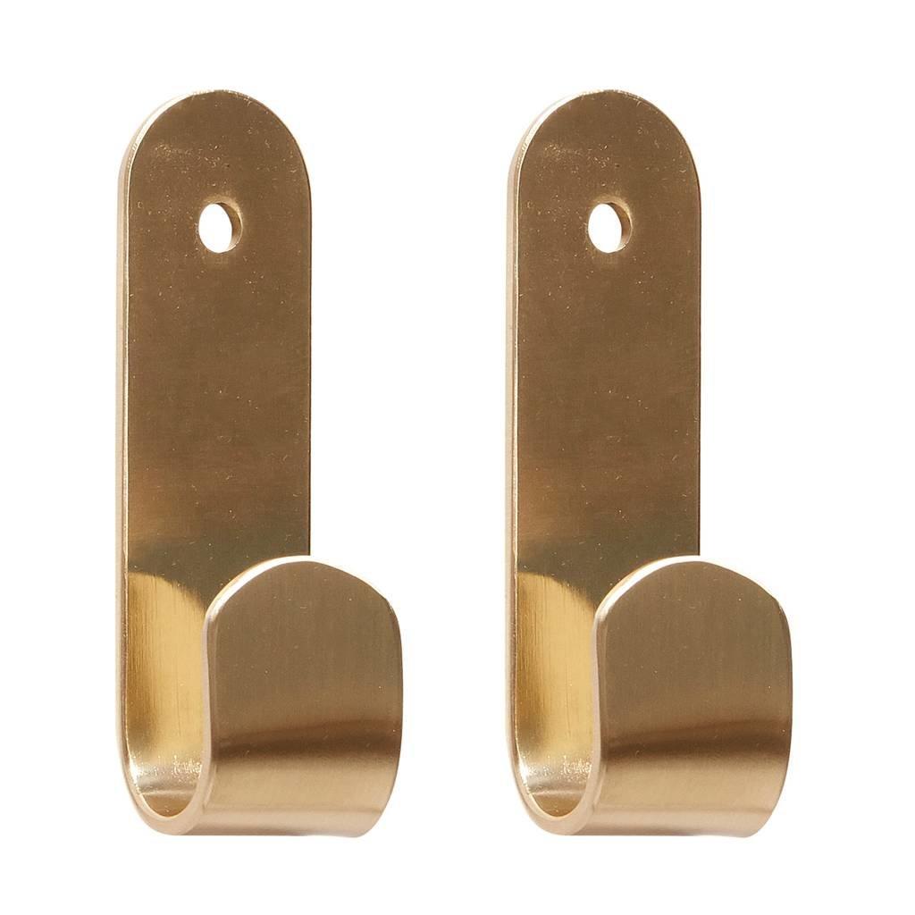 Hubsch Kapstokhaak goud messing - set van 2 - 890611