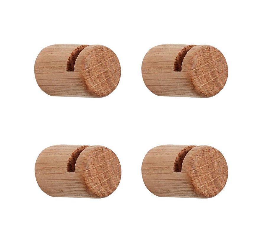 Kapstokhaak zwevend - Bruin eikenhout - set van 4