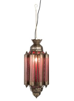 J-line Hanglamp Gypsy Oosters - glas/metaal - rood/goud. J-line 78347123