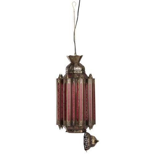 J-line Hanglamp Gypsy Oosters - glas/metaal - rood/goud