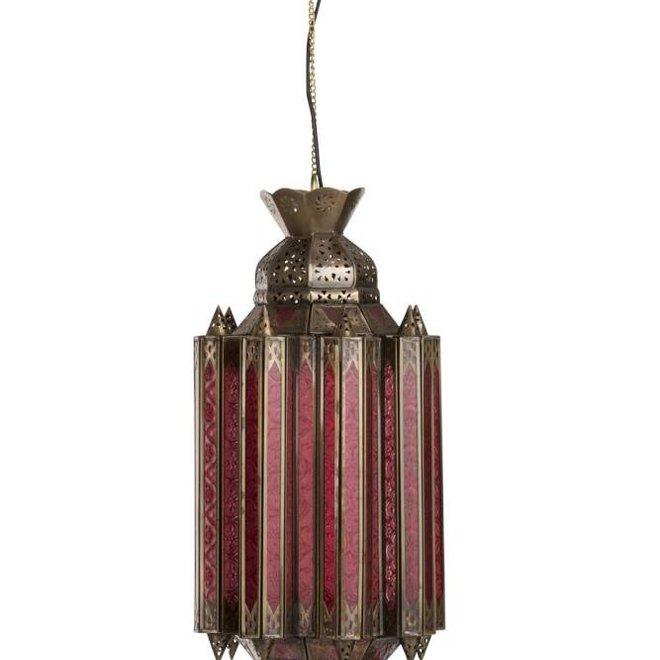 J-line Hanglamp Gypsy Oosters - glas/metaal - rood/goud - 89002