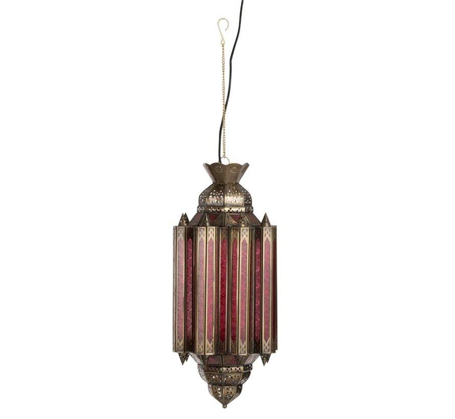 Hanglamp Gypsy Oosters - glas/metaal - rood/goud