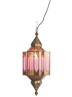 J-line Hanglamp Gypsy Oosters - glas/metaal - beige/goud. J-line 78348401