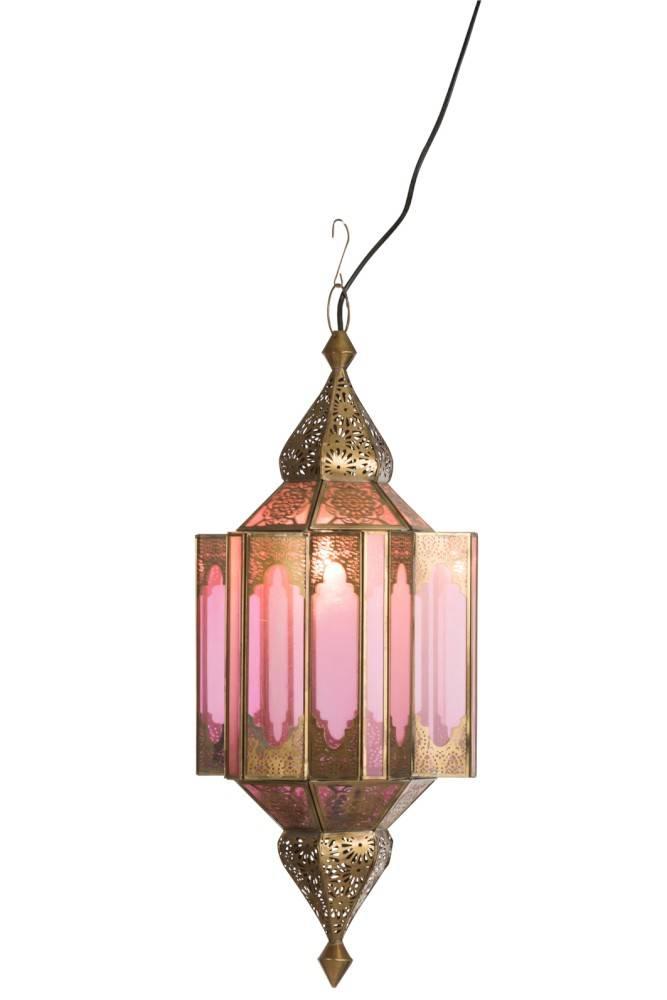 J-line Hanglamp Gypsy Oosters - glas/metaal - beige/goud