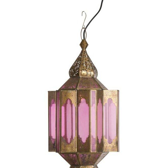 J-line Hanglamp Gypsy Oosters - glas/metaal - beige/goud - 89001