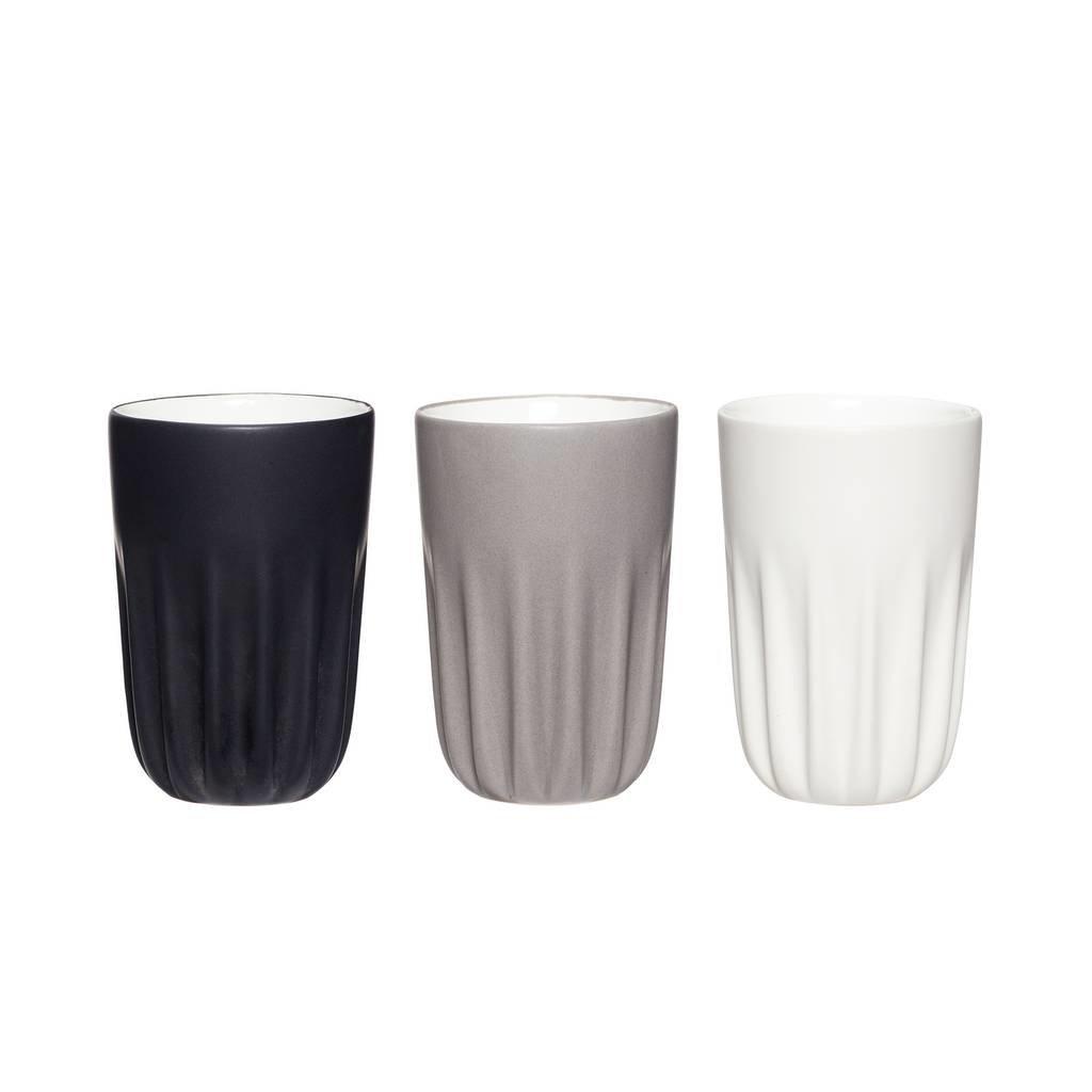 Hubsch Mok porselein grijstinten - set van 3 - 710602