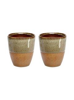 Hubsch Mok/beker aardewerk bruin - set van 2