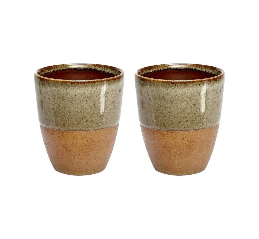 Mok/beker aardewerk bruin - set van 2