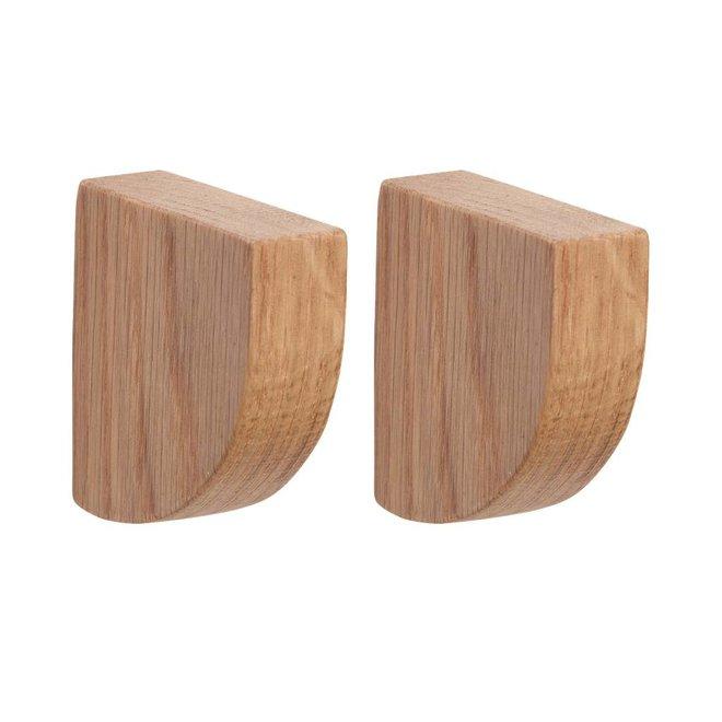 kapstokhaak kwart rond - eikenhout - set van 2