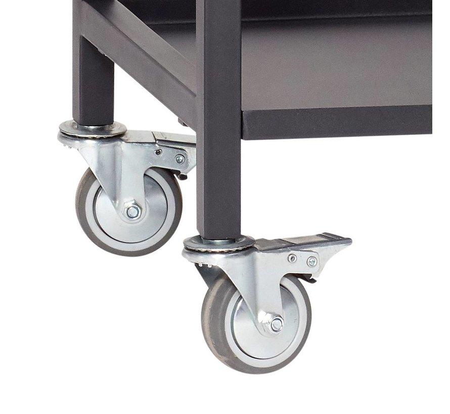 Trolley zwart metaal - 020401 - 58 x 38 x h66 cm