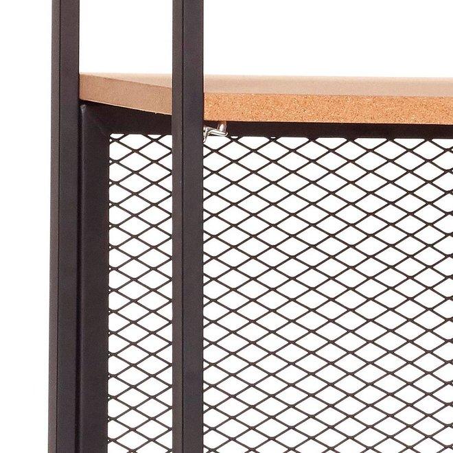 Stellingkast - metaal, kurk - 020402 - zwart - 5 legplanken  - 71 x 35 x h180 cm