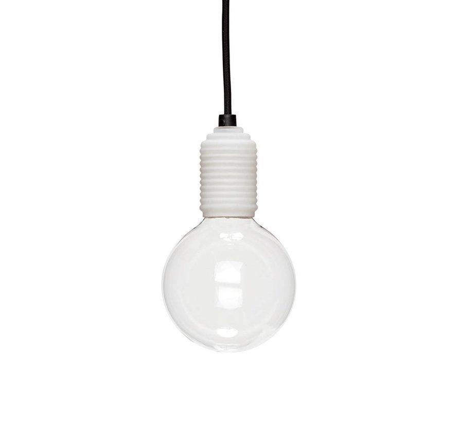 Hanglamp - 890406 - glas, stof - wit, zwart