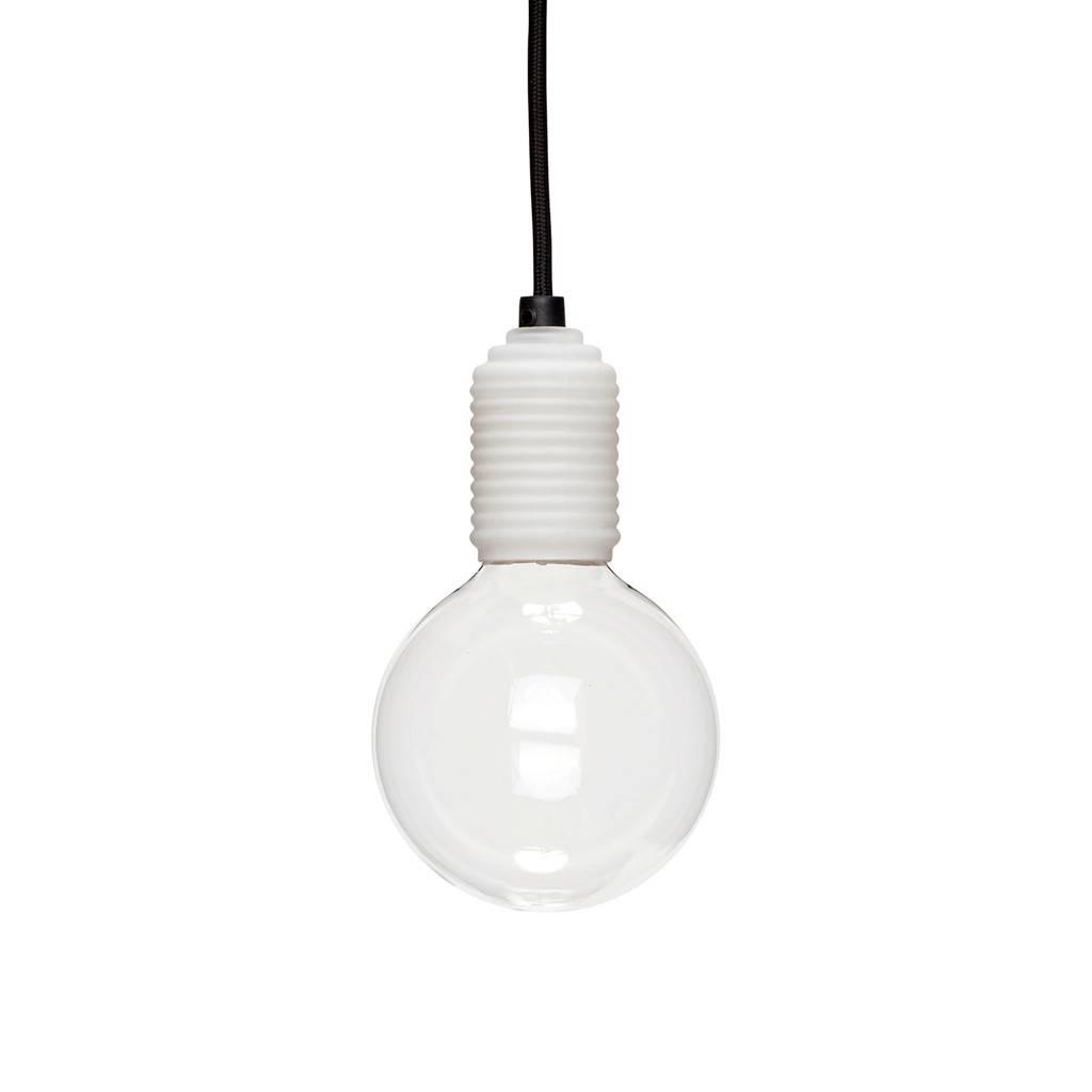 Hubsch Lamp, glas, wit, met lamp / zwarte draad
