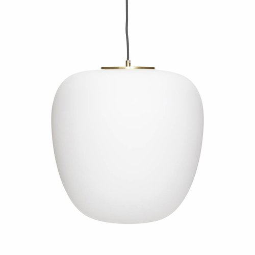 Hubsch Hanglamp - glas, messing - wit, goud - ø40 cm