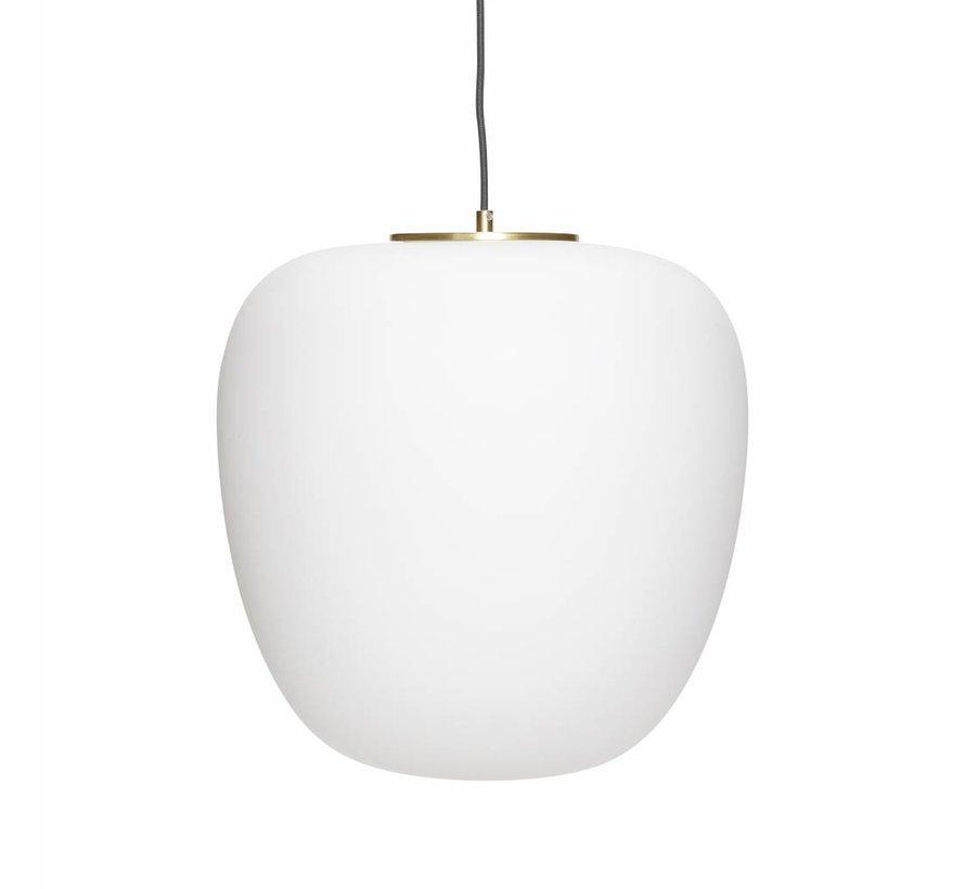 Hanglamp - glas, messing - wit, goud - ø40 cm