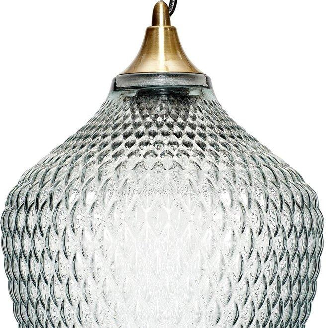 Hubsch Hanglamp - 950101 - Glas, Messing - 22 x H32 cm - Blauw - 950101