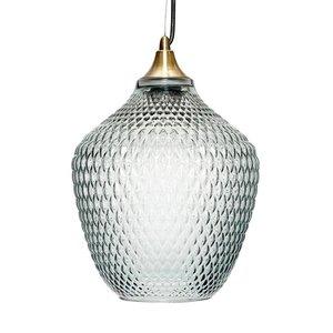 Hubsch Hanglamp - 950101 - Glas, Messing - 22 x H32 cm - Blauw