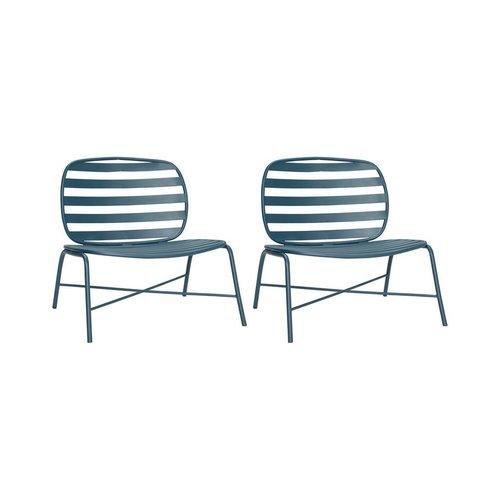Hubsch fauteuil Design Lounge, groen metaal, 990841, set van 2