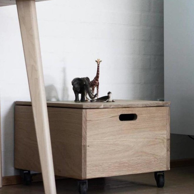 Opbergkist met wielen - 880247 - 43 x 45 x H33 cm - hout