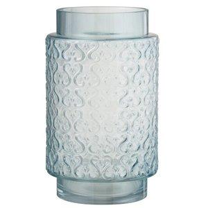 J-line Vaas Krulpatroon Hoog Glas Blauw - 29 cm