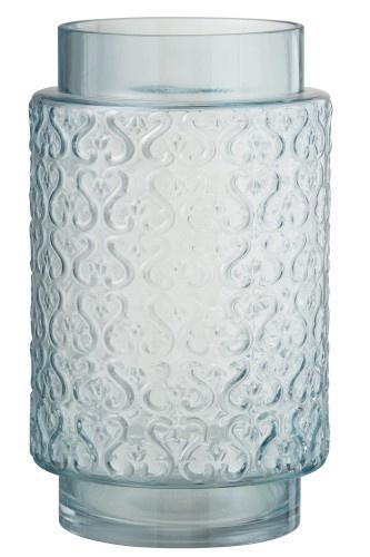 J-line Vaas Krulpatroon Hoog Glas Blauw - 29 cm-85974-5415203859747