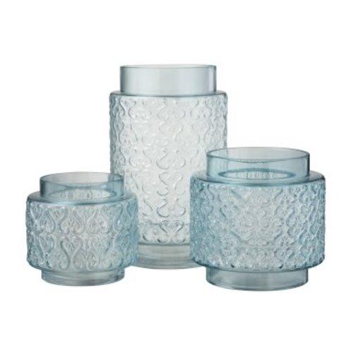Winkel voor Thuis Collectie Vaas Krulpatroon Hoog Glas Blauw - 29 cm