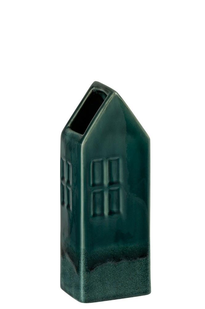 J-line Vaas huis aardewerk donkergroen (10x8x26cm)-90029-5415203900296