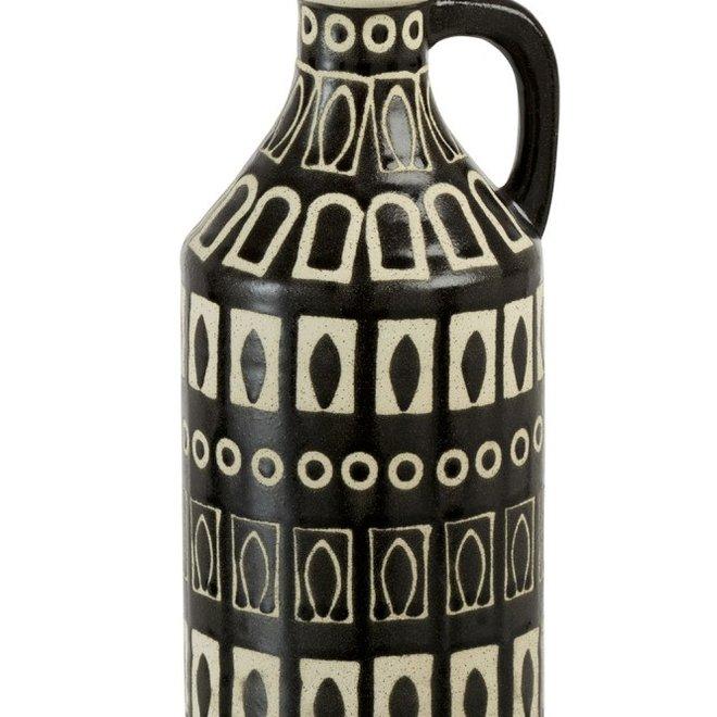 Vaas Met Oor Etnic Aardewerk Bruin/Beige (15x15x36cm)