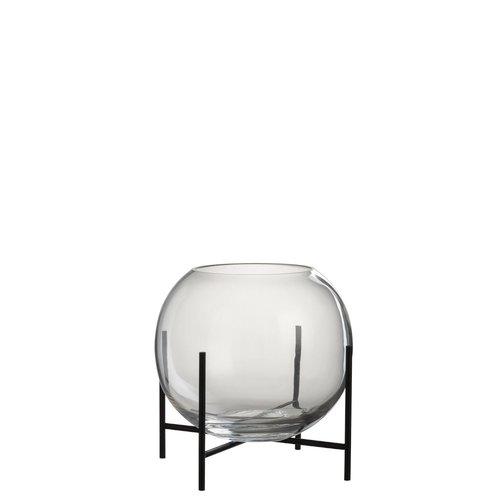 Winkel voor Thuis Collectie Vaas bol+vt gl/met tr/zw (25x25x25cm)