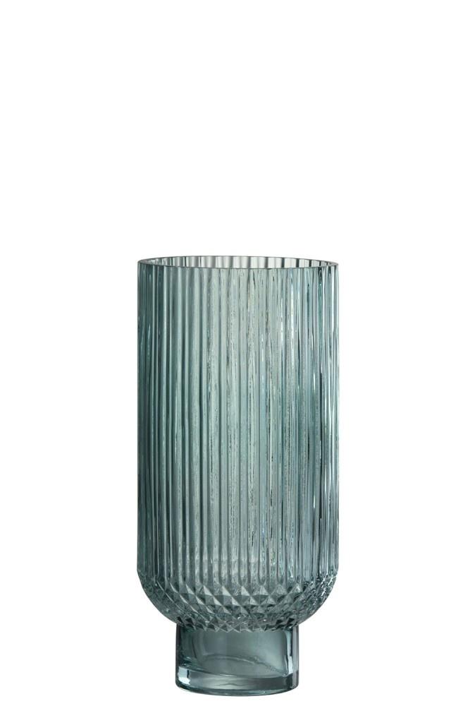 J-line Vaas Ribbels, groen glas, 27 cm