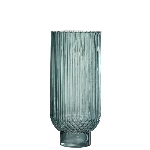 Winkel voor Thuis Collectie Vaas ribbels rnd hoog gl grn l (16x16x36cm)