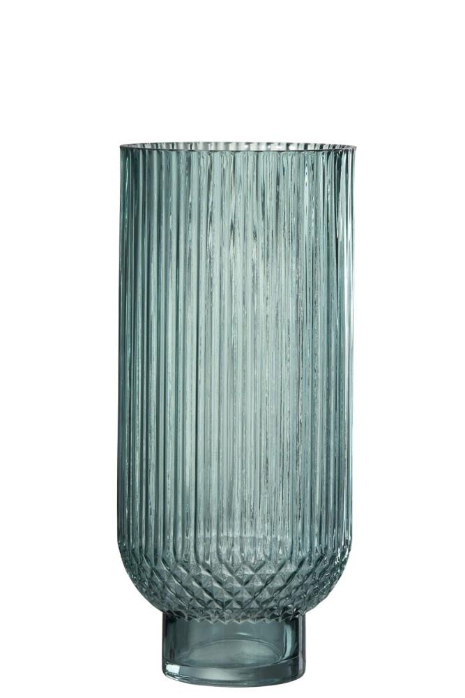 J-line Vaas Ribbels, groen glas, 36 cm-92507-5415203925077