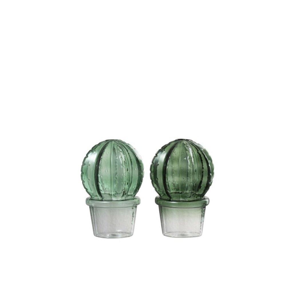 J-line Vaas cact+pot bol gl grn as2 (10x10x15cm) -