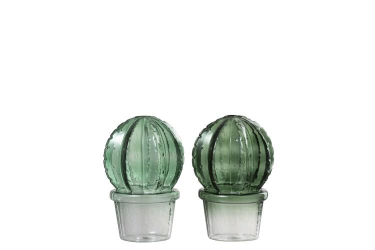 J-line Vaas cact+pot bol gl grn as2 (10x10x15cm)-92510-5415203925107
