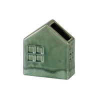 Vaas huis aardewerk groen (14x7x16cm)