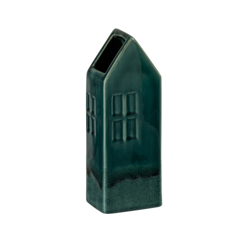 Winkel voor Thuis Collectie Vaas huis aardewerk donkergroen (10x8x26cm)