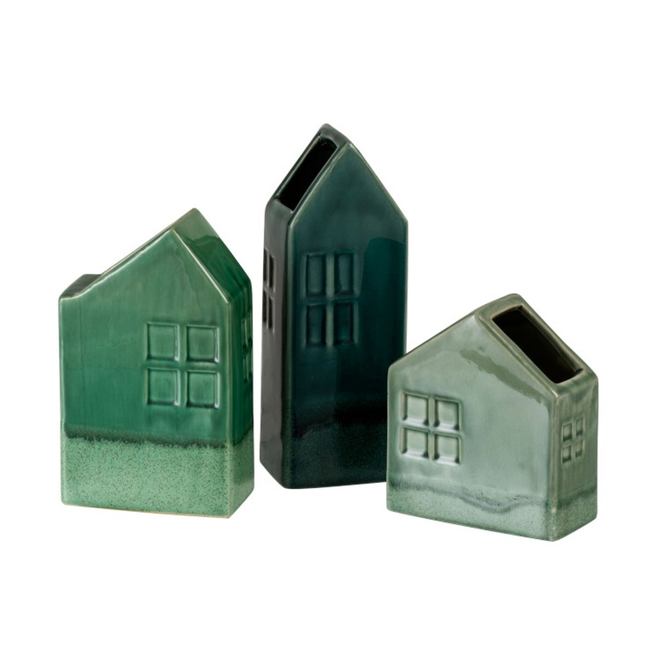 Vaas huis aardewerk donkergroen (10x8x26cm)