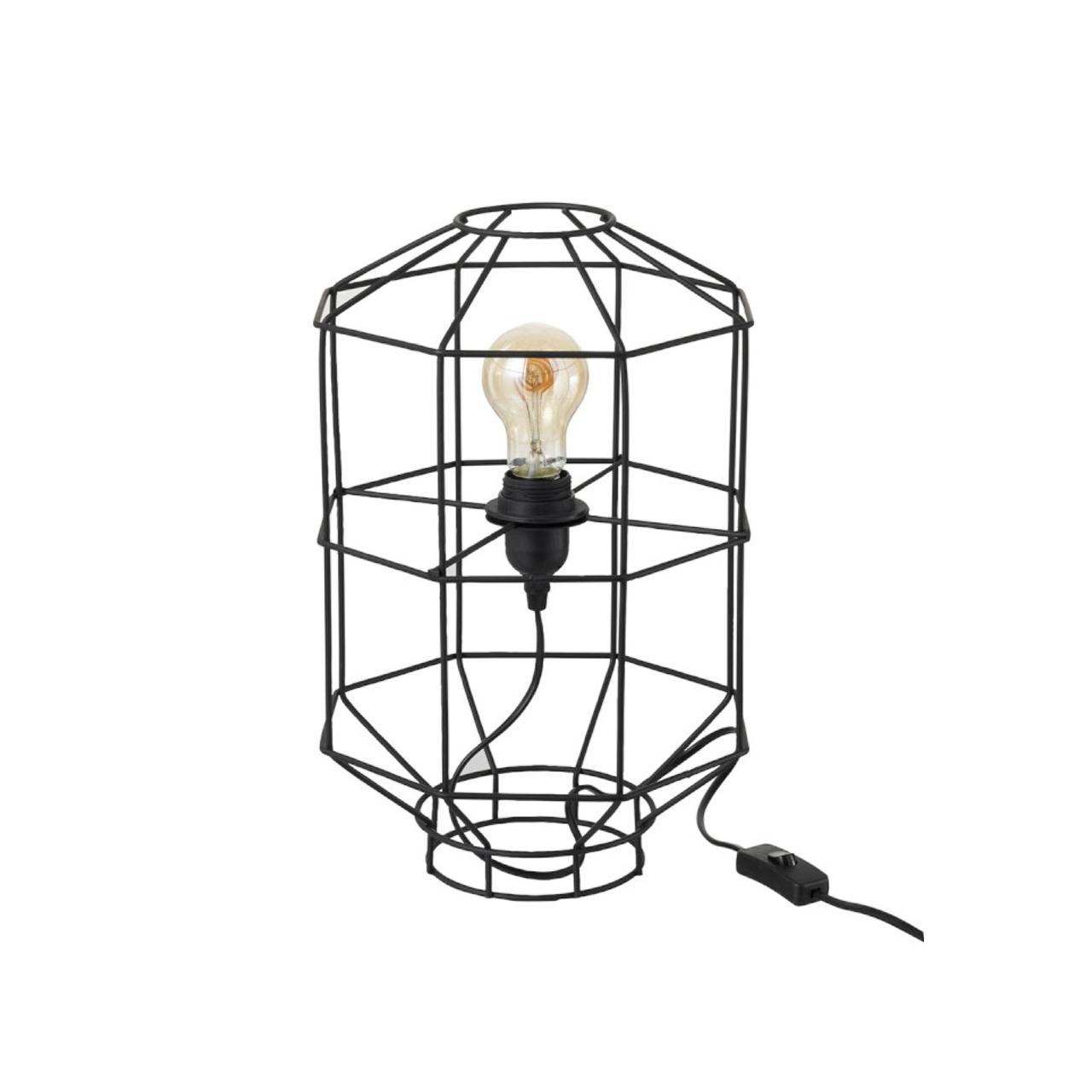 J-line Tafellamp/Vloerlamp draadlamp zwart metaal (24x24x39cm)-93788-5415203937889