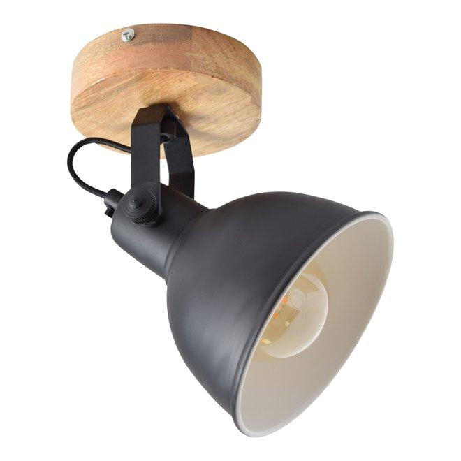 Woody - Plafondspot - Ø16 - 1lichts - Mat zwart - hout