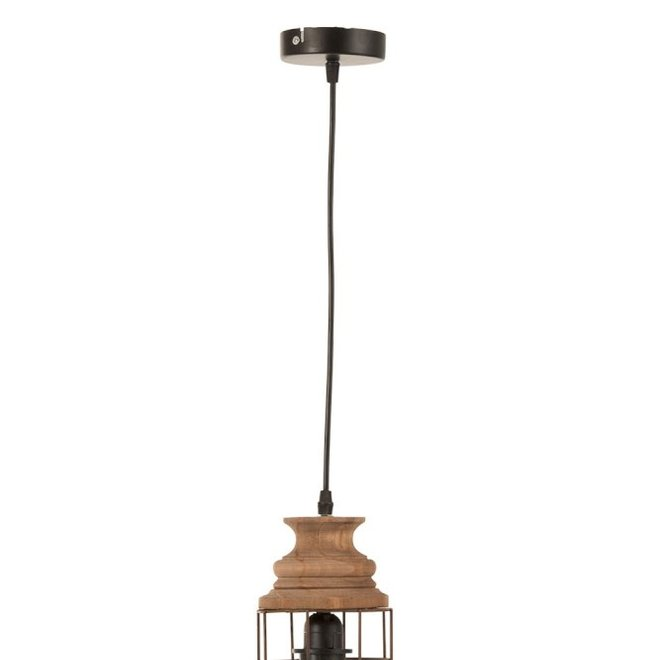 Hanglamp Tune Metaal/Hout Roest (13x13x31cm)