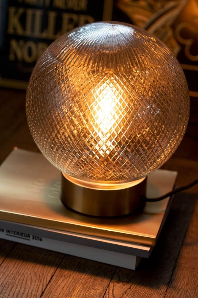 J-line Tafel Lamp Bol Glas Zilver