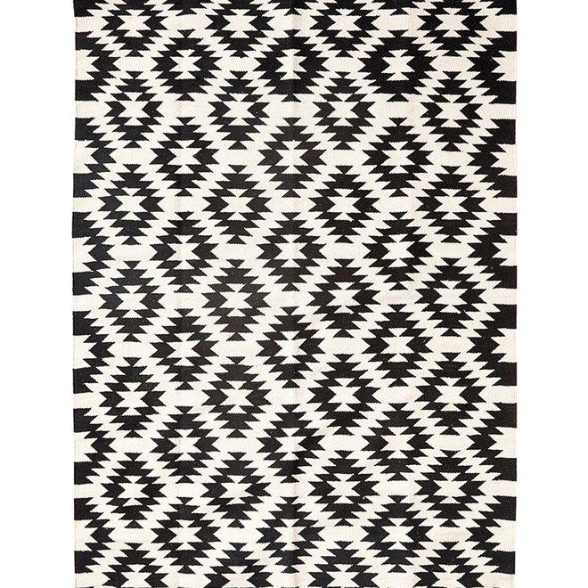 Verwonderlijk Vloerkleed zwart wit katoen - 180 x 120 cm - Winkel voor Thuis DY-78
