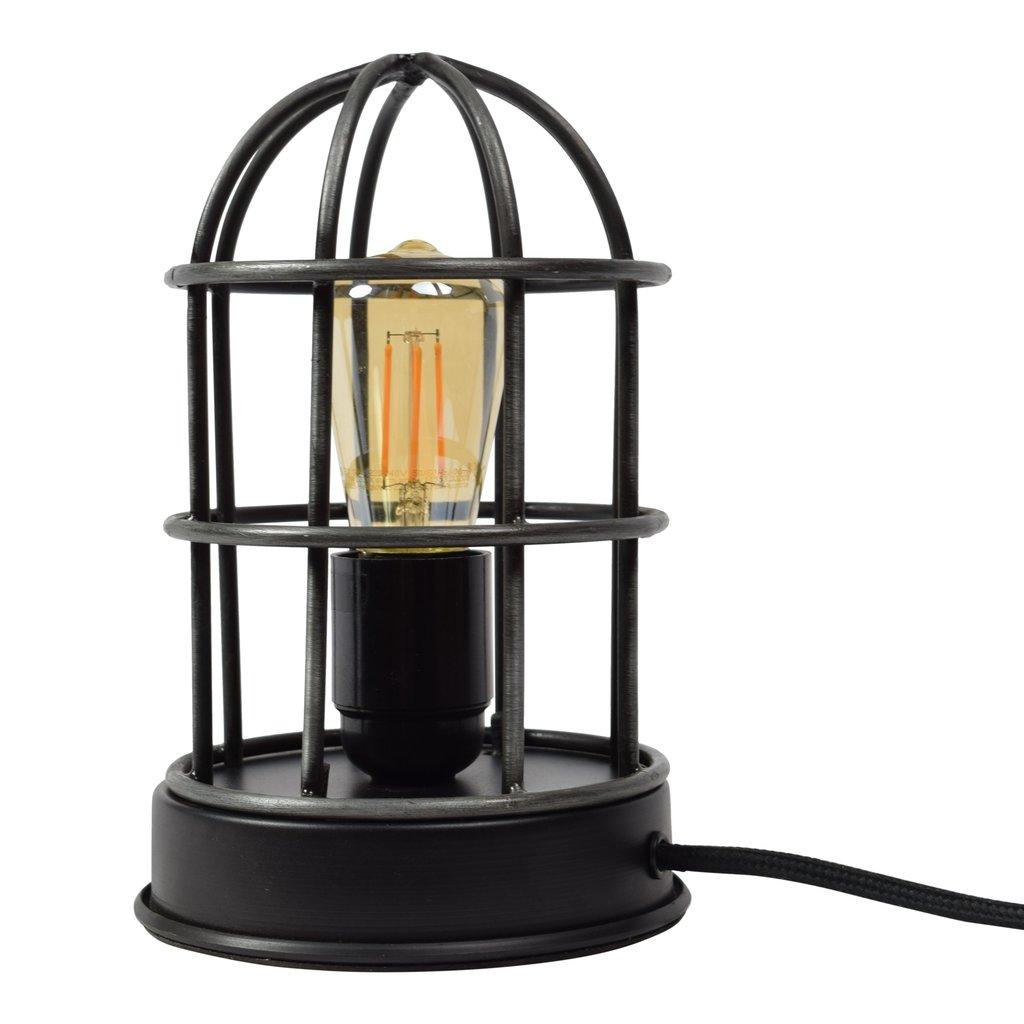 Urban Interiors Zwarte industriële kooilamp tafellamp Barn - ø12 x 22 cm - AI-TL-318