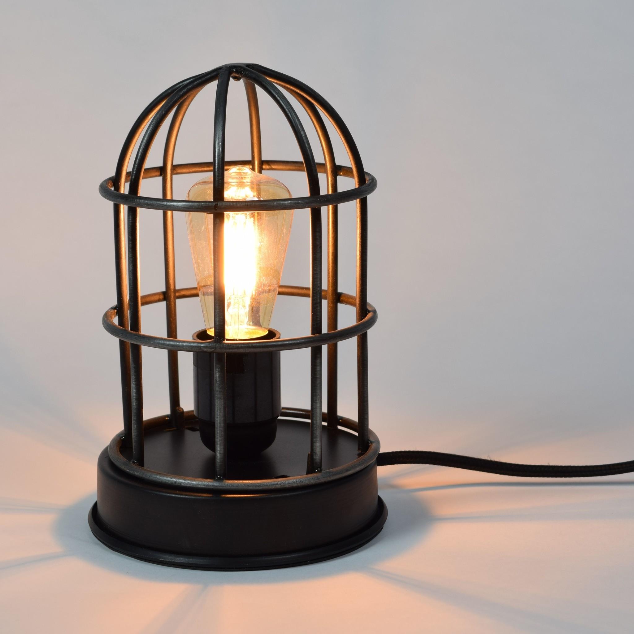 Urban Interiors Zwarte industriële kooilamp tafellamp Barn - ø12 x 22 cm