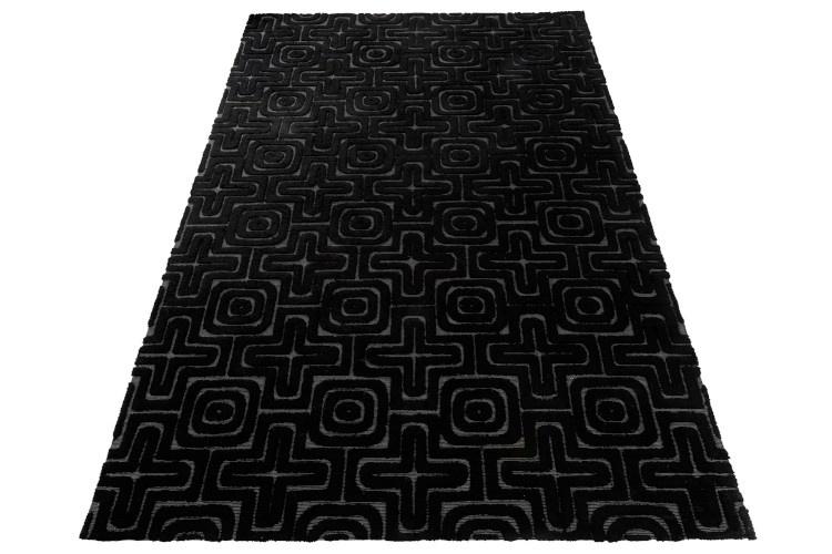 J-line Vloerkleed Relief Viscose Zwart - 300 x 200 cm-98467-