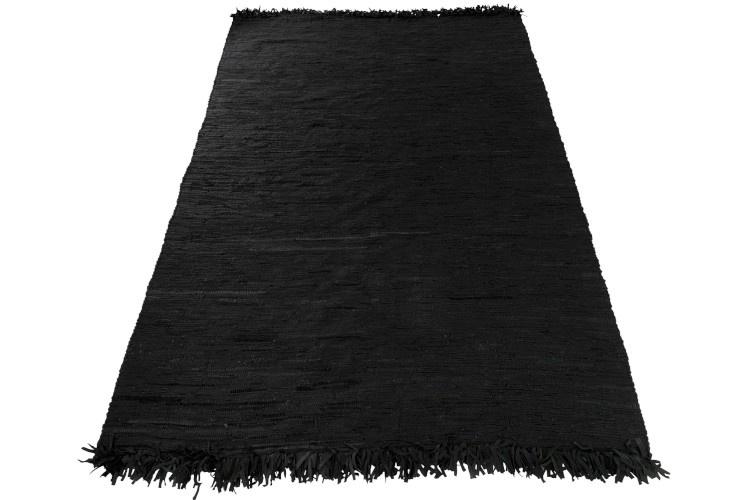 J-line Vloerkleed gehaakt zwart leder - 300 x 200 cm-98466-