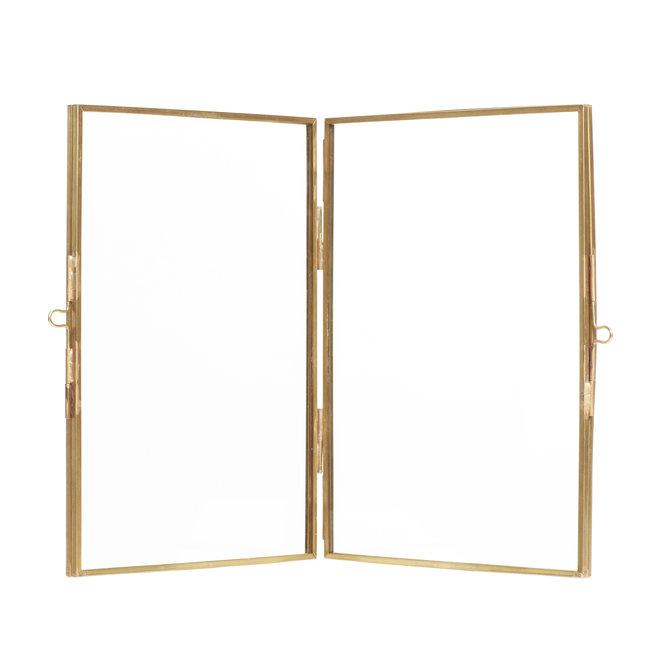 fotolijst staand dubbel - goud messing/metaal en glas - 21 x 15 cm