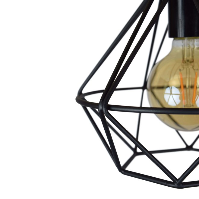 plafondlamp Wire - zwart metaal - ø 22 cm